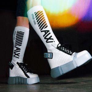 Anthony Wang white sock sneaker wedge